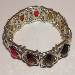 Silver Tone Stretch Bracelet with Colorful Stones